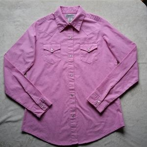 Wrangler Wrancher Pink Western Button Down LikeNew